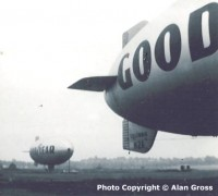 Two Goodyear blimps moored at FLU