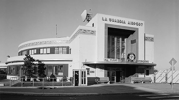 1974 photo of LaGuardia Airport Marine Air Terminal, built in 1940.
