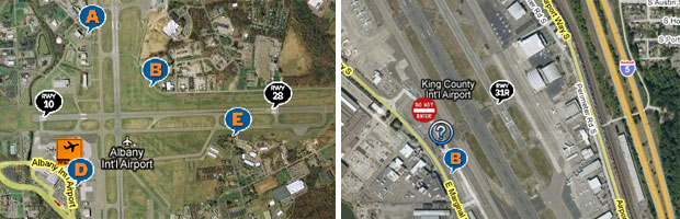 Spotting maps for Albany International Airport and Boeing Field.