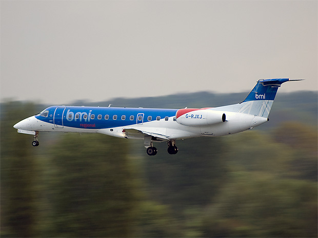 A BMI Regional ERJ on final.