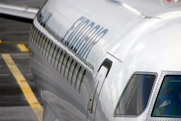 A Finnair E-170 in Helsinki prepares for departure to Brussels. Photo by comedy nose