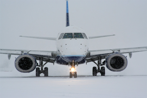 Taxiing through a snowstorm in Columbus, Ohio, this bird is far cry from the weather at the factory. Photo by DRust