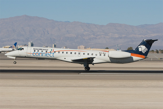 AeroMexico Connect touches down in Las Vegas. Photo by John Klos