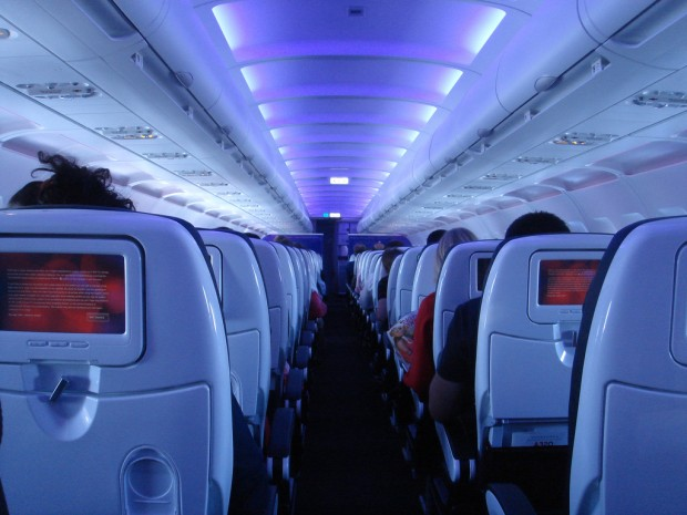 On board first ever Virgin America flight, VX001, JFK-SFO. Photo by Johnny Vulcan