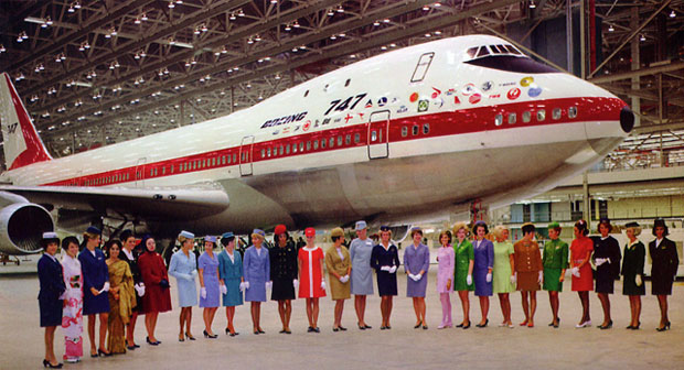 At the rollout ceremony in Everett, Wash., flight attendants representing each of the 26 airlines with early-orders for the 747.
