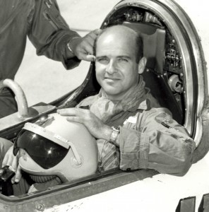 "Captain Milburn ""Mel"" Apt inthe cockpit of the Bell X-2"