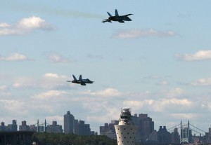 "None of that ""Negative, Ghost Rider, the pattern is full,"" garbage here! The two F/A-18C's tear past LGA Tower. (Photo by Phil Derner, Jr.)"