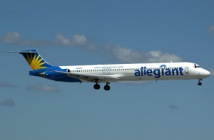Allegiant MD-80, seen here approaching runway 9L at FLL to operate a college football charter. (Photo by Mark Lawrence)