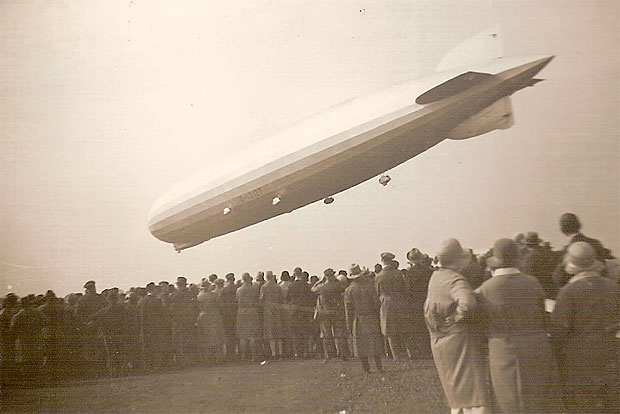 A crowd watches the Graf Zeppellin land in 1930. Photo by