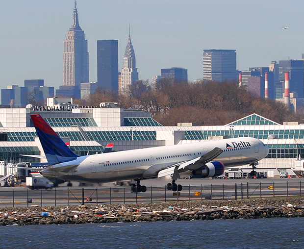 Though no longer an international airport, La Guardia has seen widebody service in the form of L-1011s, DC-10s, A-300s, and 767s. This 767-400 is the airport's type ever received.