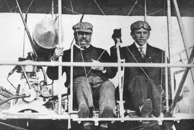 Scare Force One: On October 11, 1910, Arch Hoxsey, a member of the Wright exhibition team, took President Theodore Roosevelt for his first airplane ride