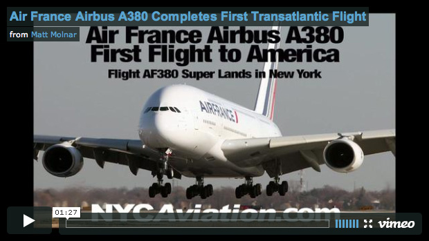 Air France Airbus A380 First Revenue Flight Landing in New York