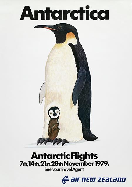 Poster advertising Air New Zealand's flights over Antarctica