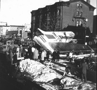 The tail section of the United DC-8 which crashed in Park Slope, Brooklyn.