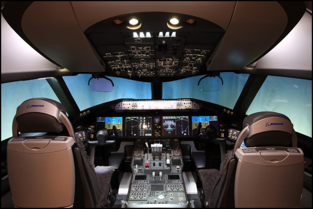 Boeing 787 cockpit mockup. Photo by Jeremy Lindgren
