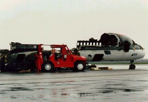 These are the remains of Northwest Flight 1482, which collided with a departing 727 in Detroit in 1990.