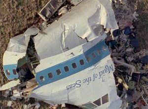 Pan Am Flight 103 wreckage in Lockerbie Scotland