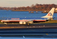 American 737-800 N977AN this time performing a sucessful landing at New York's LGA. (Photo by Brian Futterman)