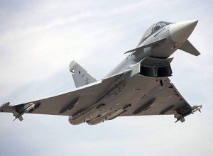 Eurofighter Typhoons, like this one, are actually expected to be able to take down aircraft like F-15s with their very modern technology. Would such a battle go as easily for them if they went up against F-22s, however?