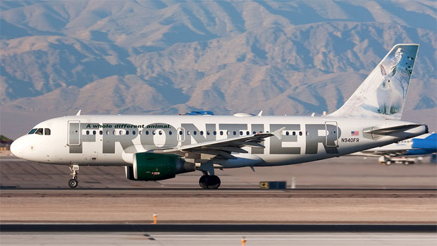 "Frontier's ""Jack Rabbit"" A319 departs Las Vegas N940FR Photo by John Klos"