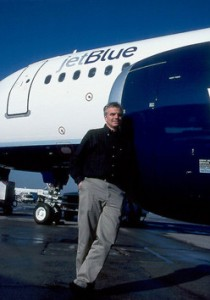 JetBlue founder David Neeleman hanging out by one of his aircraft before the airline began operations. (Photo by Michael F. Mclaughlin)