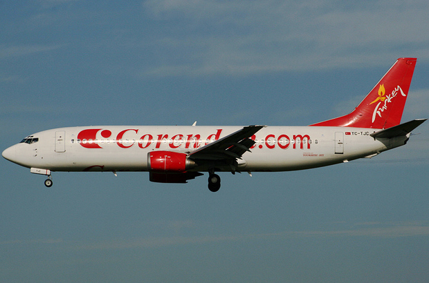 Corendon Airlines 737-4Q8 TC-TJC on approach to Amsterdam