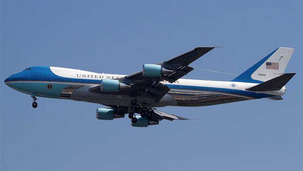 Air Force One VC-25A 29000 carrying President Barack Obama to New York