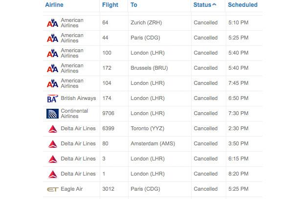 JFK volcano flight status