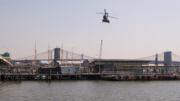 Marine Corps Chinook support helicopter approaches Wall Street Heliport