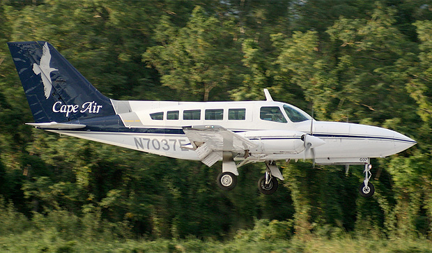 A Cape Air Cessna 402 N7037E lands at Eugenio Mara de Hostos Airport in Puerto Rico