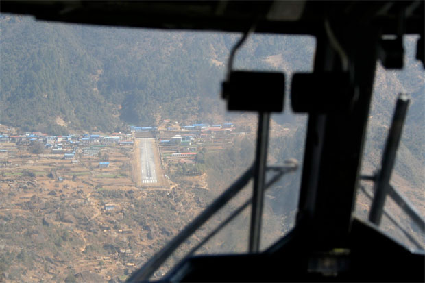 Lukla Airport approach in a Twin Otter