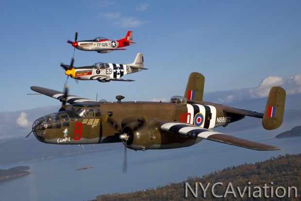 B-25 Grumpy and P-51 Impatient Virgin over Washington