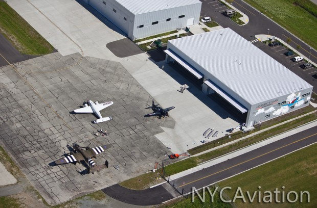 Aerial overview of the Historic Flight Foundation Kilo 7 hangar and ramp