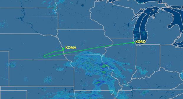 US Airways Flight 88 diversion flight track