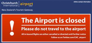 Christchurch International Airport website earthquake