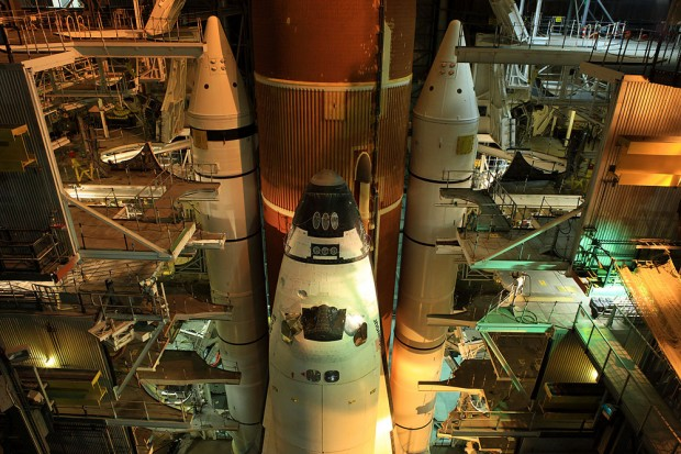Endeavour sits quietly in high bay #03 attached to her external tank and solid rocket boosters.
