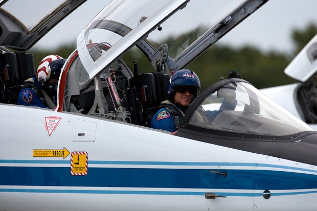 Pilot of STS-134 Col. Gregory H. Johnson takes out his T-38