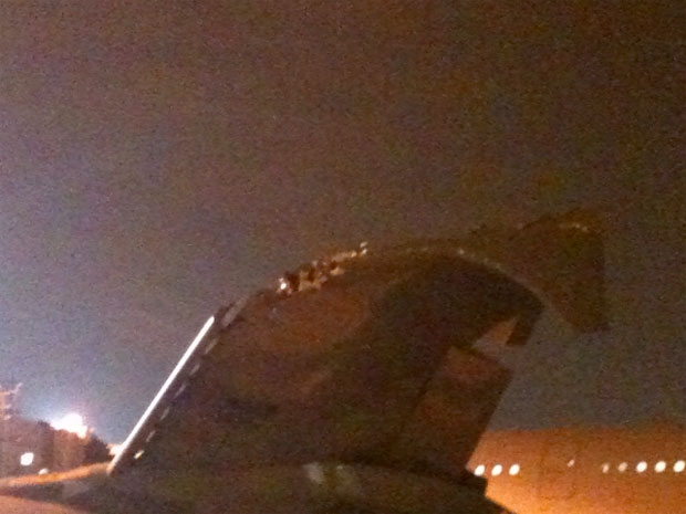 The collision ripped off the upper wing fence of the Air France A380 F-HPDJ