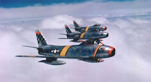 U.S. Air Force North American F-86F Sabres, led by Tuskegee airman Col. Ben O. Davis, fly over Korea in 1953