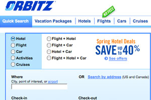 Orbitz homepage