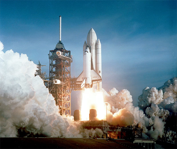 First launch of Space Shuttle Columbia on mission STS-1.