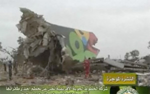 Wreckage of Afriqiyah Flight 771 as seen on Libyan TV.