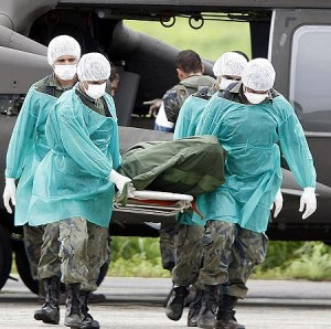 A body recovered from AF447 is removed from a helicopter for identification.