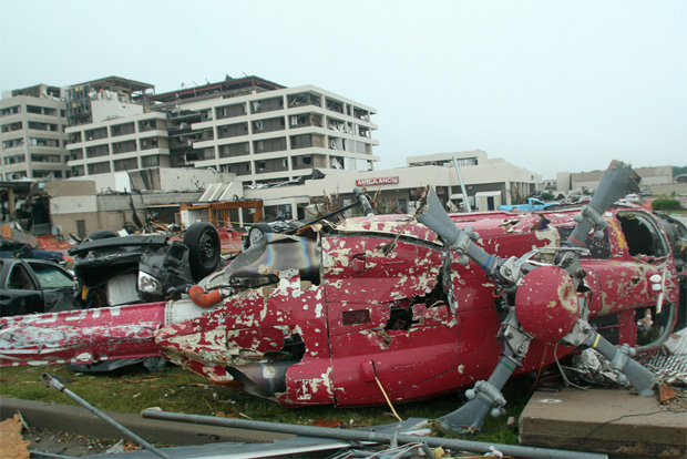 This Medevac helicopter was blown off the roof of St. John's Mercy Hospital in Joplin