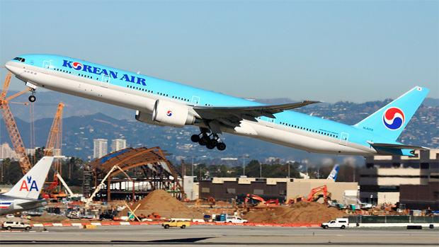 Korean Air 777-300ER HL8209  lifts off from LAX