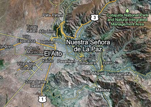 La Paz Bolivia UN plane crash map