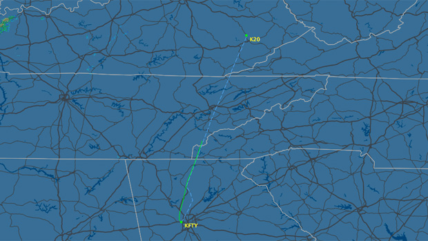 North Carolina Flight track