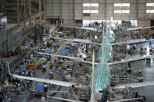 Boeing 737 assembly line in Renton, Wash