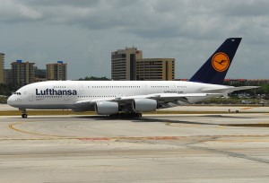 Lufthansa Airbus A380 D-AIMD makes its first appearance at Miami International Airport
