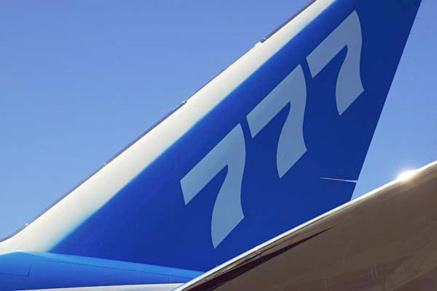 Boeing 777 tail in house livery